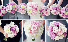 soft and feminine wedding bouquets; summer wedding - pink and grey // #weddingbouquets // bouquets by kiokreations.com; photo © gntphoto.com