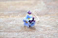 Sterling silver and polymer clay realistic blue by innette on Etsy