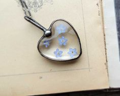 Forget Me Nots necklace love necklace heart necklace by MARIAELA