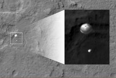 An image taken by the High Resolution Imaging Science Experiment (HiRISE) camera aboard NASA's Mars Reconnaissance orbiter, capturing the Curiosity rover still connected to its 51-foot-wide (almost 16 meter) parachute as it descended towards its landing site at Gale Crater on August 5, 2012 is seen in this handout picture released by NASA on August 6, 2012. REUTERS-Courtesy NASA-Handout