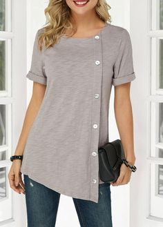 Cute Tunic Tops For Women Asymmetric Hem Round Neck Button Detail Denim Blouse Stylish Tops For Girls, Trendy Tops For Women, Mode Outfits, Fashion Outfits, Fashion Shoes, Denim Blouse, Grey Blouse, Trendy Fashion, Womens Fashion