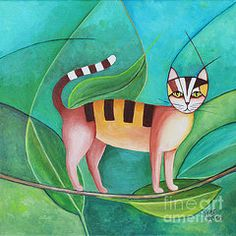 Stylized Cat Paintings - Cat in the Tree by Jutta Maria Pusl