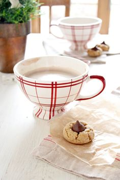 'Cookies & Cafe Au Lait Cups...'  Recipe for Peanut Butter Blossoms!