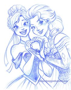 Elsa and Anna Fan Art: Anna and Elsa Film Disney, Disney Fan Art, Disney Love, Disney Magic, Disney Frozen, Disney Sketches, Disney Drawings, Disney And Dreamworks, Disney Pixar