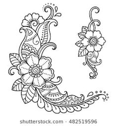 royalty-free henna tattoo flower template mehndi style stock vector art & more images of abstract Tattoo Henna, Henna Tattoo Designs, Henna Art, Mehandi Designs, Henna Mehndi, Henna Designs Drawing, Tattoo Ideas, Henna Mandala, Mandala Tattoo