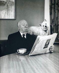 """Alfred Hitchcock and his dog Sarah"""