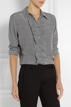 Equipment | Blake houndstooth washed-silk shirt | NET-A-PORTER.COM, $260