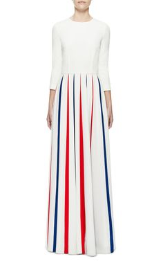Cady Gown With Tricolour Pleats by A La Russe for Preorder on Moda Operandi