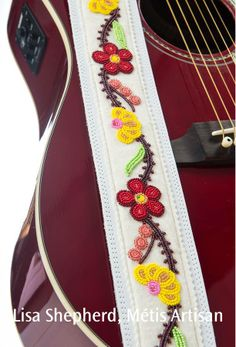 Beaded guitar strap, Lisa Shepherd, Métis