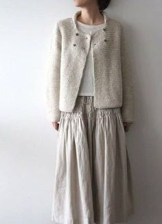 white on white - [Envelope Online Shop]Smocked skirt + knit boxy cardi Mode Outfits, Fashion Outfits, Womens Fashion, Fashion Tips, Latest Fashion, Look Fashion, Beautiful Outfits, Ideias Fashion, Knitwear