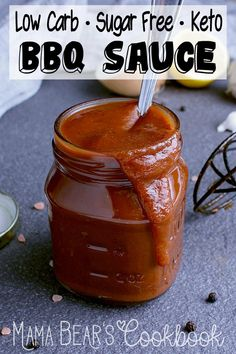 Low Carb BBQ Sauce Keto friendly and sugar free, this Low Carb BBQ Sauce is easy to make, crazy flavourful and perfect for anything that comes off the grill! Low Carb Chicken Recipes, Healthy Low Carb Recipes, Low Carb Dinner Recipes, Ketogenic Recipes, Keto Recipes, Snack Recipes, Keto Dinner, Dessert Recipes, Jelly Recipes