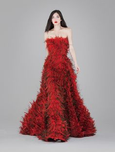 Dramatic red feather dress