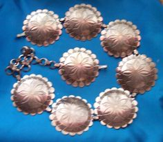 Vintage Concho Belt Large 3-Inch Stamped Metal Medallions - Size Small