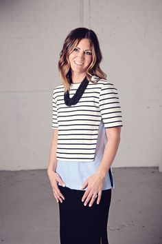 Kim Ray  stripes,skirts, summer outfits, wedges, accent necklaces, how to style striped tops, Frances Jaye, great hair, lob hair style, beach waves