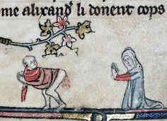 Santa Hemorroide. Holy hemorrhoid Roman d'Alexandre, Tournai 1338-1344 (Bodleian Library, MS. Bodl. 264, fol. 56r). Discarding Images