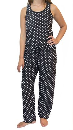 ad30aa3b4bf1 Black and White Polka Dots Pajama Pants Set