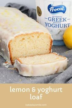A simple one-bowl Lemon & Yoghurt Loaf with a deliciously tangy lemon glaze poured over the top. This is an all-time favourite school lunch box recipe. plus it's freezer-friendly too! Lemon Desserts, Lemon Recipes, Sweet Recipes, Baking Recipes, Dessert Recipes, Greek Yoghurt Recipes, Lunch Box Recipes, Loaf Tin Recipes, Sponge Cake Recipes