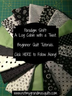 Tutorials creating a stunning black and white modified log cabin quilt with accents. Easy to Make and Follow Along!