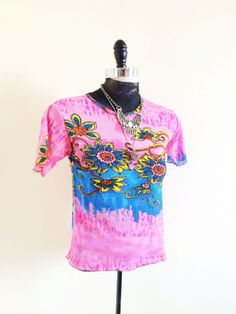 90s Transparent Mesh Pink Flower Top Tie Dye by wildthingvintage