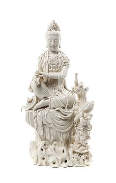 Buy online, view images and see past prices for A Blanc de Chine Figure of Guanyin, Height 14 inches. Invaluable is the world's largest marketplace for art, antiques, and collectibles. China, Green Tara, Oriental, Guanyin, Buddhist Art, Sculpture, Divine Feminine, Stone Carving, Chinese Art