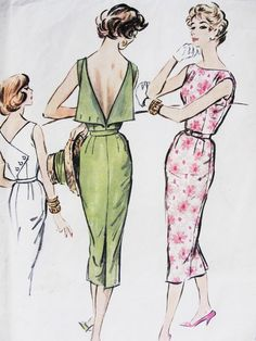 1950s STUNNING Cocktail Evening Dress Pattern Unique Button Back, Bateau Neckline Easy To Sew McCalls 4528 Vintage Sewing Pattern Bust 34