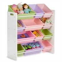 Kids Storage 12 Bin Toy Organizer in White with Pastel Colors for general home improvement and remodeling