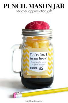 "Such a cute teacher appreciation gift! A ""pencil"" mason jar!"