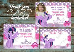 My Little Pony Birthday Party Invitation, My Little Pony Princess Twilight Sparkle Invitation, MLP party, My Little Pony Thank you card
