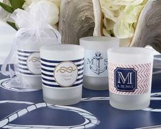 Personalized Frosted Glass Votive - Nautical Wedding - Candle Favors by Kate Aspen