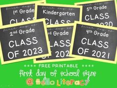 """Free """"first day of __ grade"""" signs for first day of school pictures"""