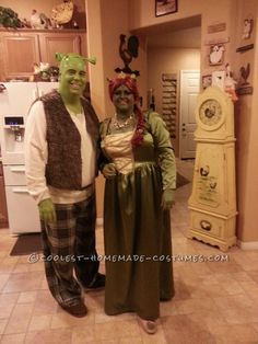 awesome homemade plus size fiona and shrek costume homemade couples costumescool couplehalloween