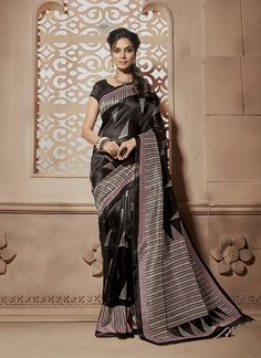 Indian online wedding sarees shop delivers designer sarees, bridal sarees. Buy this cotton silk black casual saree.