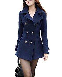24a271253c8 Manteau Femme Manches Longues Revers Slim Fit Trench Hiver Fashion  Classique Double Boutonnage Coat Vêtements Vintage