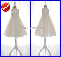 Wholesale Ivory One-Shoulder Tulle A-Line Floor Length Flower Gir Dresses Custom Made Floral Bridal Party Gown, Free shipping, $52.64-75.04/Piece | DHgate