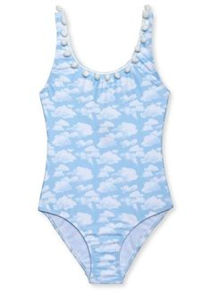 Cloud print swimsuit is one of this collections best swimsuit for girls. High quality fabric Vibrant print Matching Cover-Up Poncho and board shorts for boys     - 90% knitted poliamida, 10% elastan Kids Suits, Girls Bathing Suits, Cute Swimsuits, A Perfect Day, Beachwear, Swimwear, Classic Style, Cloud, Vibrant