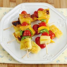 Grilled tropical fruit skewers with jalapeno peppers