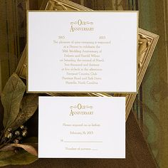 Printable and downloadable 25th wedding anniversary invitations this bright white card features a gold foil border to highlight your invitation wording this anniversary invitationswedding solutioingenieria Gallery