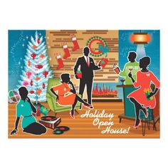 Mid Century Modern Holiday Open House Invitations: Customize and order on a selection of wonderful papers!