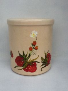 hand painted crock vintage strawberries flowers vintage small kitchen decor home decor cottage chic shabby chic. 11.00, via Etsy.
