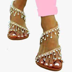 Nefeli Pearls + Strass - flat sandal