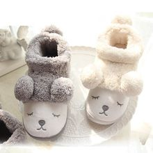982a9472a307 Cute Cartoon Bear Winter Women Men Couples Warm Plush Home Slippers For  Indoor House Bedroom Plush