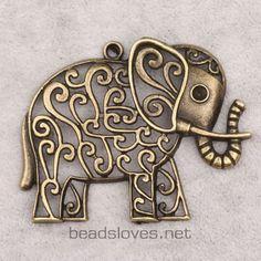 1pc Elephant  Vintage lot Antique Brass by findingswholesale, $1.99