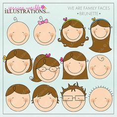 We are Family Faces -Brunette- Cute Digital Clipart for Invitations, Card Design, Scrapbooking, and Web Design, Stick Figure Faces