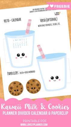 FREE milk and Cookies calendar divisore + graffetta per decorare il tuo planner questo febbraio. Altri stampabili gratuiti sul blog.