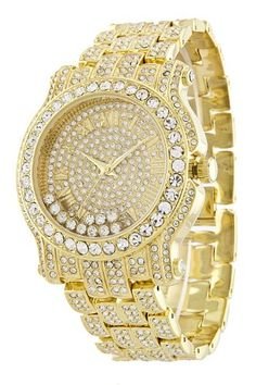 Totally Iced Out Pave Floating Crystal Gold Tone Hip Hop Men's Bling Bling Watch - Jewelry For Her