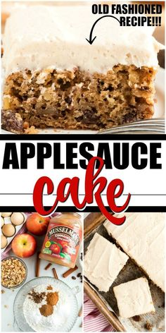 This classic applesauce cake is a favorite old-fashioned dessert from my Southern grandma. Sugar, spices, cinnamon applesauce, raisins, and walnuts are baked into a rich and moist irresistible treat. Healthy Apple Desserts, Apple Cake Recipes, Easy Desserts, Delicious Desserts, Dessert Recipes, Apple Cakes, Strawberry Desserts, Carrot Cake, Applesauce Cake Recipe