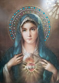 Blessed heart of Mary Catholic Prayers, Catholic Art, Catholic Saints, Religious Art, Blessed Mother Mary, Blessed Virgin Mary, Mother Mary Tattoos, Virgin Mary Art, Hail Holy Queen