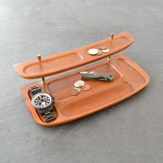 Mid Century Wood Dresser Valet Tray Organizer For Watch Jewelry Money