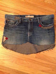 OOAK Ladies funky upcycled denim skirt 33 Waist by 47Sweaters