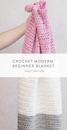 Free Pattern - Crochet Modern Beginner Baby Blanket